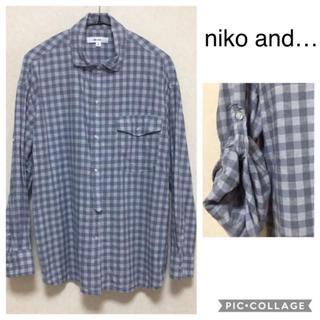 ニコアンド(niko and...)のリネンコットン チェックシャツ niko and… ロールアップシャツ(シャツ/ブラウス(長袖/七分))