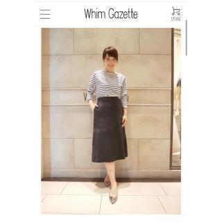 ドゥーズィエムクラス(DEUXIEME CLASSE)のウィムガゼット タイトスカート やぎ革 レザー 36 スエード ドゥロワー(ひざ丈スカート)
