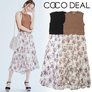 ココディール(COCO DEAL)の大人気商品♡cocodeal 花柄ドッキングワンピ ブラウン 茶(ロングワンピース/マキシワンピース)