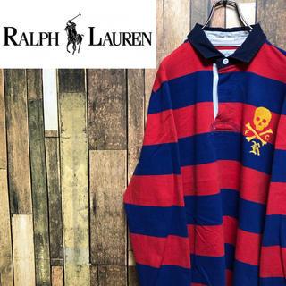 Ralph Lauren - 【激レア】ラグビーラルフローレン☆スカル刺繍ロゴ入り太ボーダーラガーシャツ