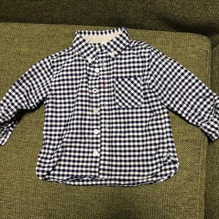 ムジルシリョウヒン(MUJI (無印良品))の無印良品 80cm 青チェック柄シャツ(シャツ/カットソー)
