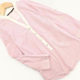 ザラ(ZARA)のザラ ZARA ストライプシャツ ノーカラー 白xピンク size XS(シャツ/ブラウス(長袖/七分))