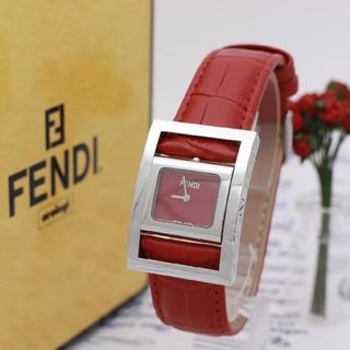 フェンディ(FENDI)の正規品【新品電池】FENDI /バングルウォッチ レッド 美品(腕時計)
