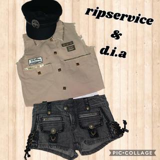 リップサービス(LIP SERVICE)のリップサービス コスプレにも保安官風ノースリーブシャツ+d.i.aショートパンツ(シャツ/ブラウス(半袖/袖なし))