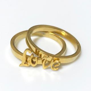 同時購入で300円 ステンレス指輪love ペア(リング(指輪))