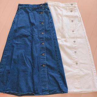 ジーユー(GU)の2枚セット gu サイドボタンスカート(ロングスカート)