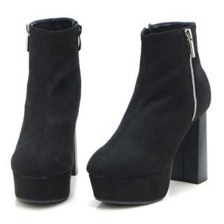 新品 送料込 飾りファスナー ショートブーツ スエードブラック Sサイズ(ブーツ)