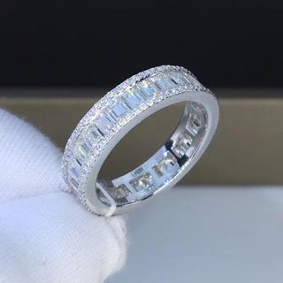 エメラルド モアサナイト ダイヤモンド リング k18(リング(指輪))