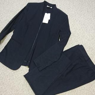 プラステ(PLST)のプラステ PLST ノーカラー スーツ ネイビー M(スーツ)