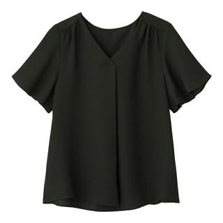 ジーユー(GU)のエアリーブラウス(半袖) ブラック XL(シャツ/ブラウス(半袖/袖なし))