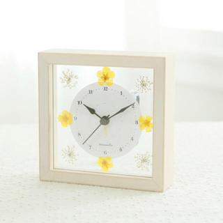 アフタヌーンティー(AfternoonTea)の 美品 アフタヌーンティー  押し花 フラワー ガラス 置き時計 フランフラン(置時計)