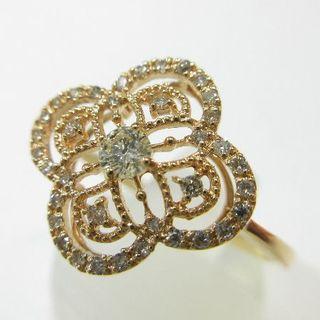 未使用品◆K18ピンクゴールド製◆天然ダイヤモンド0.32ct◆四葉クローバー風(リング(指輪))