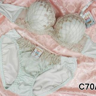 025★C70 M★美胸ブラ ショーツ 谷間メイク ダイアチェック刺繍 緑(ブラ&ショーツセット)