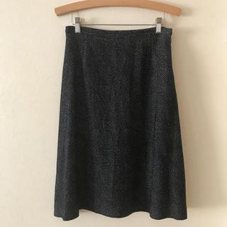 ミナペルホネン(mina perhonen)の美品 サリースコット スカート 変形ドット柄ネイビー紺色 (ひざ丈スカート)