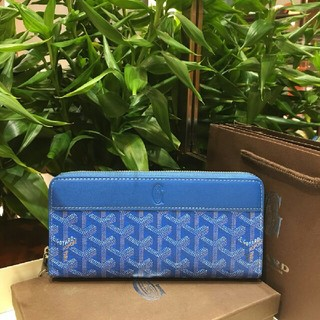ゴヤール(GOYARD)のGOYARD セレブ愛用 ファースナー付き長財布 ジップGM ブルー 男女兼用(財布)