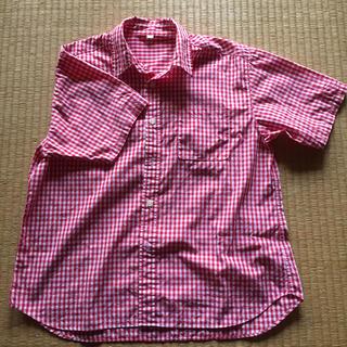 ムジルシリョウヒン(MUJI (無印良品))の無印 ギンガム Tシャツ 赤(シャツ/ブラウス(半袖/袖なし))