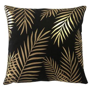 フランフラン(Francfranc)のクッション カバー 枕カバー おしゃれ ゴールド×ブラック 黒 45×45cm(クッションカバー)