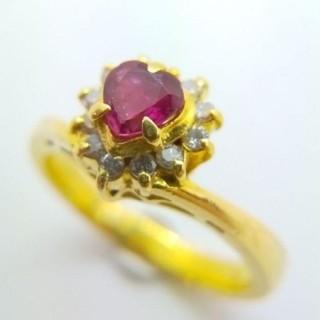 トクトクジュエリー ルビー ダイヤモンド K18 リング(リング(指輪))