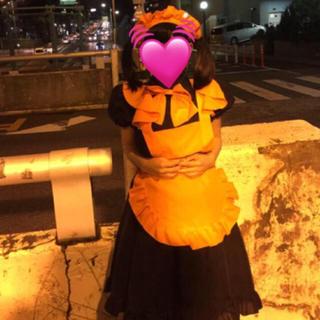 ハロウィンメイド服黒オレンジ ハロウィン仮装(衣装一式)