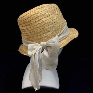 メルベイユアッシュ(MERVEILLE H.)のPARADIS TERRE パラディテール ハット 麦わら帽 帽子 リボン 麻混(麦わら帽子/ストローハット)