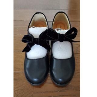 サマンサモスモス(SM2)の新品・未使用 SM2 リボン&紐シューズ(黒)(ローファー/革靴)