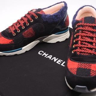 シャネル(CHANEL)のCHANEL シャネル スニーカー ツイード レッド ブラック チェック 39 (スニーカー)