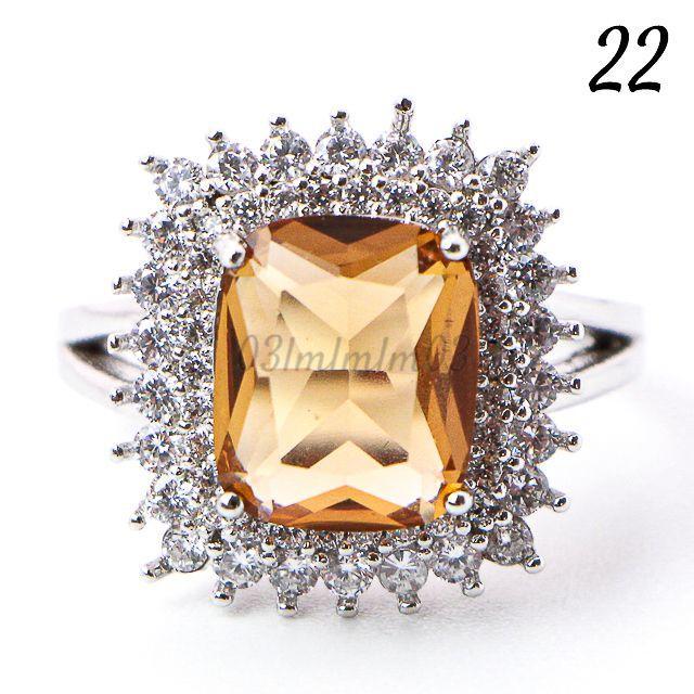 Y14 リング 22号 人工石 トパーズ 大粒 大きいサイズ レディースのアクセサリー(リング(指輪))の商品写真