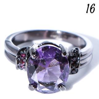 Y16 リング 16号 人工石 アメジスト オーバル 大粒 クール(リング(指輪))
