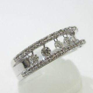 未使用品◆K18WG製指輪◆揺れる天然ダイヤモンド0.20ct(リング(指輪))
