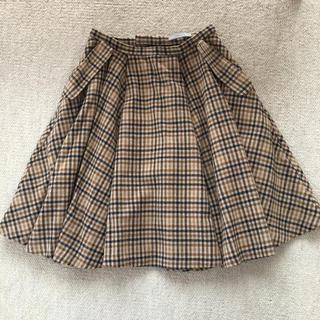 オペーク(OPAQUE)のお値下げ フレアスカート ウール チェック オペーク(ひざ丈スカート)