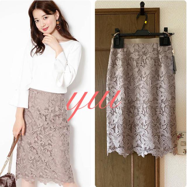 JUSGLITTY(ジャスグリッティー)の新作✨新品 フラワーレースタイトスカート レディースのスカート(ひざ丈スカート)の商品写真
