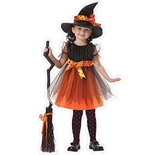 ハロウィン 魔女 魔女っ子 パンプキン ウィッチ コスプレ 衣装 仮装 キッズ (衣装一式)