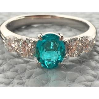 美しいネオンカラーです。 パライバトルマリン ダイヤモンド(リング(指輪))