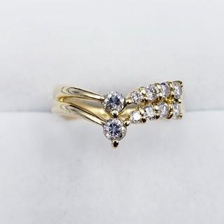 0.50ctダイヤモンド K18イエローゴールド リング 4.2g ☆送料無料☆(リング(指輪))