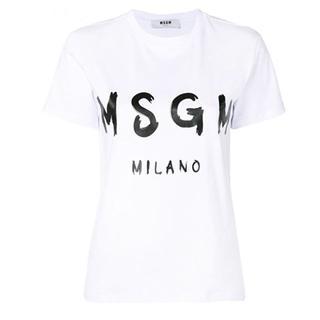 エムエスジイエム(MSGM)のMSGM レディース ブラシロゴTシャツ WHT-XS(Tシャツ(半袖/袖なし))