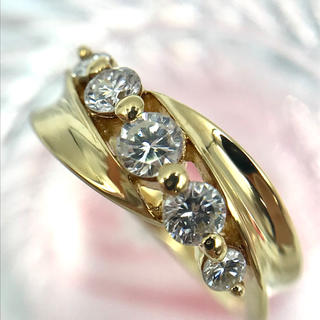 K18 ダイヤモンド D0.50ct 5Pダイヤ デザイン リング 7.5号(リング(指輪))