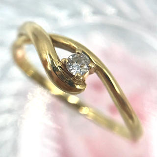 K18 ダイヤモンド  D0.05ct 1Pダイヤ デザイン リング 10号(リング(指輪))