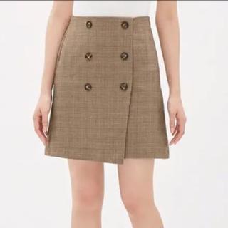 GU - GU ミニスカート グレンチェック ブラウン