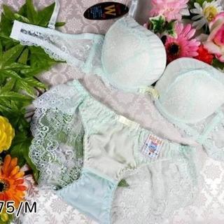 110★C75 M★美胸ブラ バックレースショーツ Wパッド マーメイドグリーン(ブラ&ショーツセット)