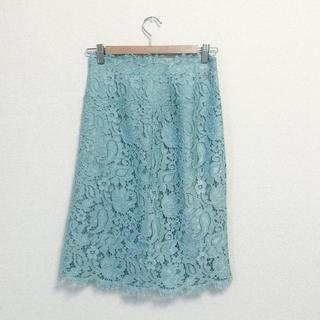 デミルクスビームス(Demi-Luxe BEAMS)のBEAMS ウエストスカラップレースタイトスカート(ひざ丈スカート)