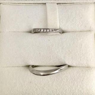 ヨンドシー(4℃)のオデュース4℃ ダイヤモンド ペア リング Pt950 2mm 5.4g(リング(指輪))