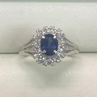 ★サイズ16号★プラチナPt850サファイア&ダイヤモンドリング★0.85ct(リング(指輪))