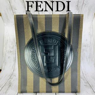 フェンディ(FENDI)の極美品 FENDI ROMA ロゴ レザー トートバッグ(トートバッグ)