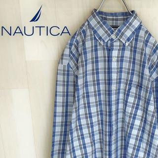 ノーティカ(NAUTICA)の【04-24】ノーティカ 長袖シャツ チェック ワンポイント 刺繍 爽やかカラー(シャツ)