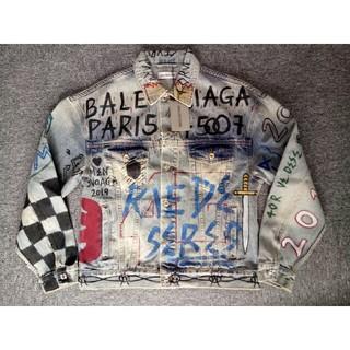 バレンシアガ(Balenciaga)の高品質BALENCIAGA デニムジャケット 落書ちジャケット タグ付き  L(Gジャン/デニムジャケット)