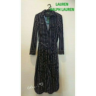 ラルフローレン(Ralph Lauren)のLAUREN RALPH LAUREN フロントオープンストライプワンピース(ロングワンピース/マキシワンピース)