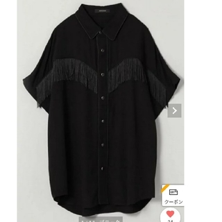 ジーナシス(JEANASIS)のジーナシスJEANASIS フリンジウエスタンシャツ黒(Tシャツ(半袖/袖なし))