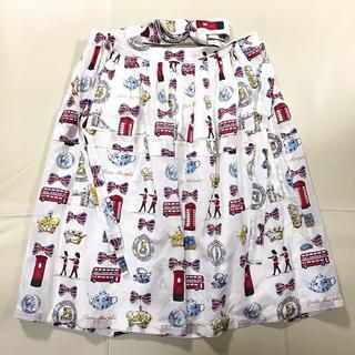 ジェーンマープル(JaneMarple)のロンドンプリント  サスペンダースカート(ひざ丈スカート)