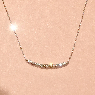 canal4℃ - 新品❤️18金 ホワイト ダイヤモンド スマイル ライン ネックレス K18