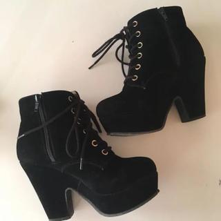黒 ショートブーツ 23 S(ブーツ)